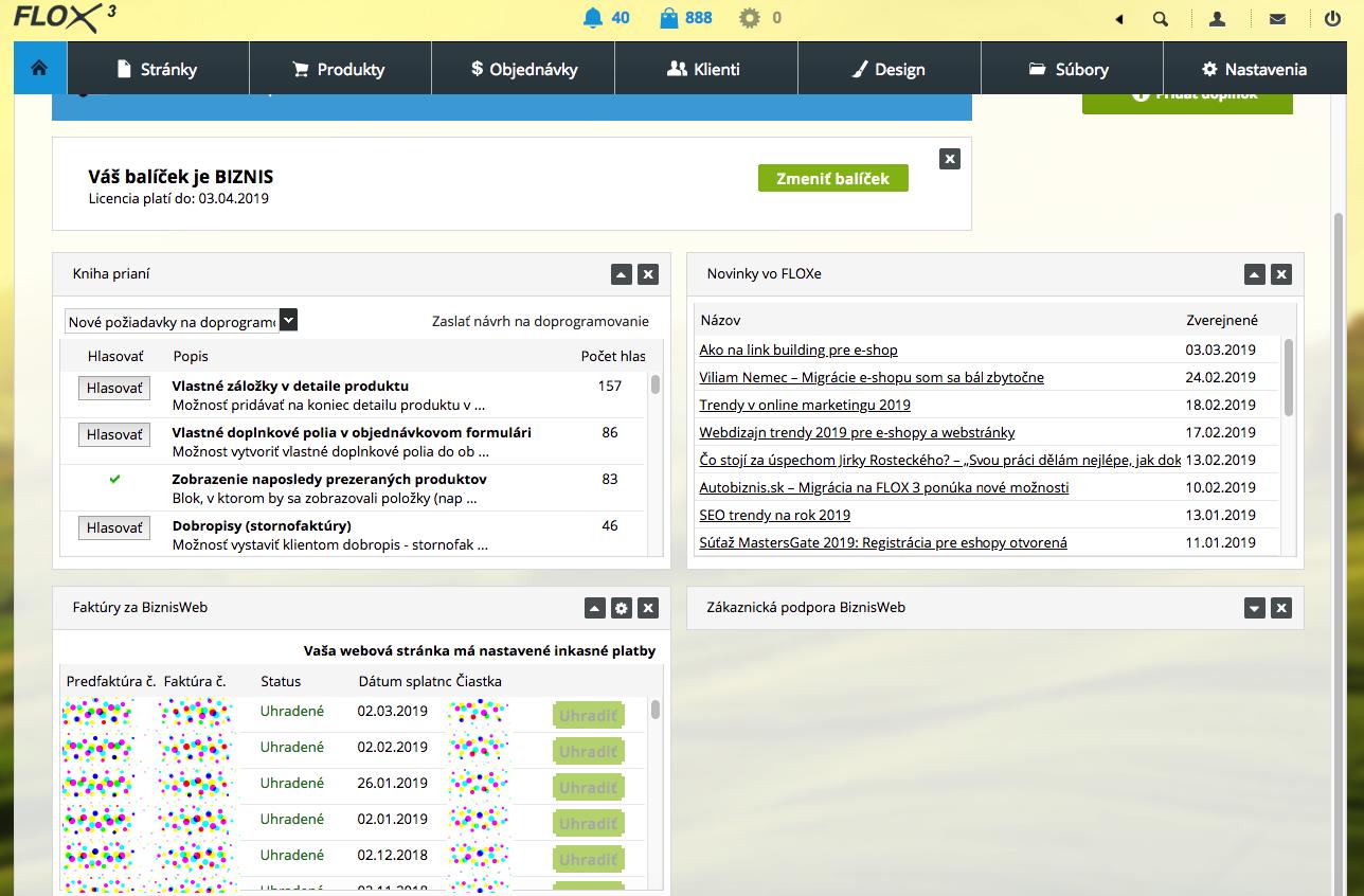 widget Faktúry v administrácii webu od BiznisWeb.sk